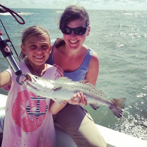 Mom and Daughters Fishing