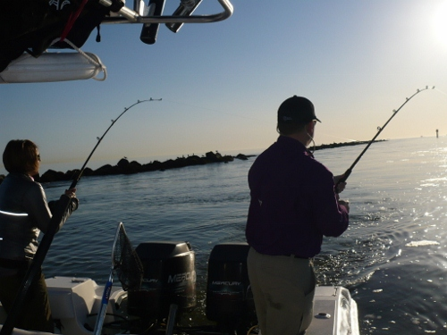 Group fishing on a custom fishing charter in galveston